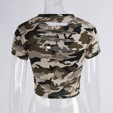 army pattern crop top printing short sleeve women t shirts yoga top hollowed out halter