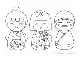 kokeshi dolls colouring 2