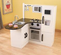 kidkraft modern espresso kitchen amazon com kidkraft chef u0027s corner play kitchen 53278 toys u0026 games