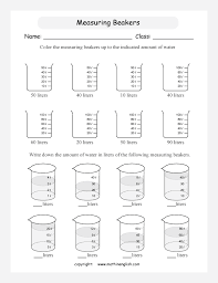 indicate the amount of water in these beakers by reading and