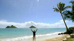 Hawaii travel man images Man on beach tourist success sky nature idyllic footage sea island jpg