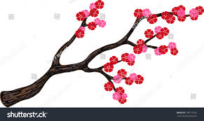 japanese style flower blossom branch cherry stock vector 103711325