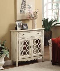 accent cabinet with glass doors antiqued white finish accent cabinet with mirror doors bana home