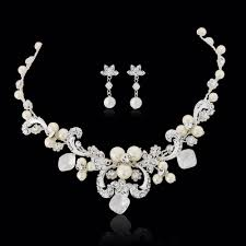 bridal earring necklace sets images Pearls cz bridal jewelry set bridal pearl vintage jewelry set jpg