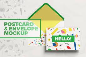 postcard with envelope mockup product mockups creative market