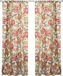 Jacobean Floral Curtains The Pillow Collection Jacobean Nature Floral Semi Sheer Rod Pocket