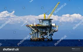 large pacific ocean offshore oil rig stock photo 143575576