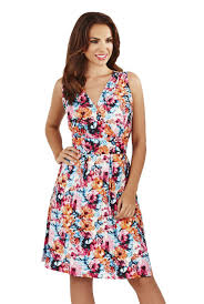martildo fashion ladies knee length floral print crossover dress