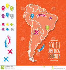 Soth America Map by Orange Hand Drawn South America Map With Map Pins Stock Vector