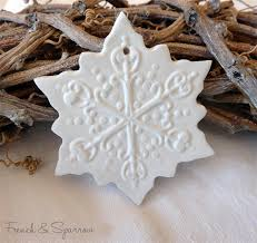 snowflake clay tags set of three ornament