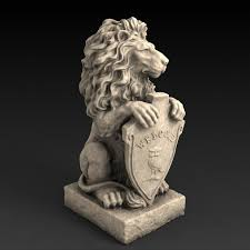lion garden statue 3d models garden statue lion with welcome sign 3d model 3d