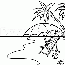 beach chair coloring pages beach umbrella colouring pages clip