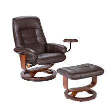 Swivel Recliner Armchair Bonded Leather Swivel Recliner With Attached Side Table And