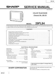 service manual tv sharp 29fl94