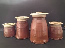 lidded pottery containers earth tone kitchen jars handmade in