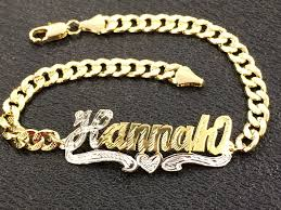 gold name bracelets personalized 14k gold overly any single plate name id