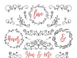 wedding texts with ornaments free vectors ui