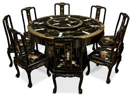 Black Lacquer Dining Table With  Chairs Asian Dining Sets - Black lacquer dining room set