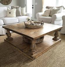 Balustrade Coffee Table Large Square Rustic Baluster Wide Plank Coffee Table