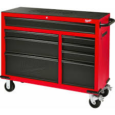 Steel Storage Cabinets Milwaukee 46 In 8 Drawer Rolling Steel Storage Cabinet Red And