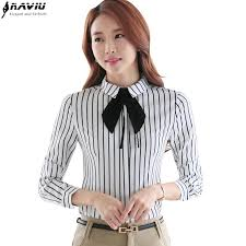 bow tie blouse plus size ol career shirt sleeve black white stripe fashion