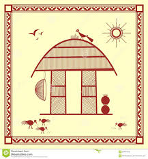Painting Of House by Indian Tribal Painting Warli Painting Of A House Stock