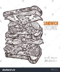hand drawn sketch double sandwich engraving stock vector 728546353
