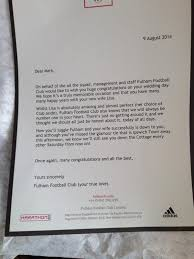 fulham fan receives funny love letter from the club on his wedding