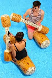 swimming pool battle with inflatable logs pool party pinterest