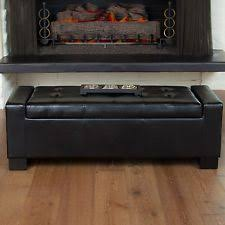 Leather Ottoman Bench Ottomans Storage Coffee Table Leather Ebay
