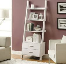 greay burgundy modern ladder bookshelf design with five slots on