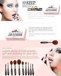 amazon com professional 10 pcs soft oval makeup brush set