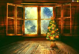 interior christmas tree house window puzzle jigsaw wallpapers