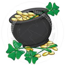 cartoon pot of gold and clovers by polkan toon vectors eps 14405