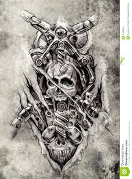 skull tattoo images free tattoo art sketch of a machine gears and skull royalty free stock