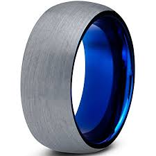 blue titanium wedding band tungsten wedding band ring 8mm for men women comfort fit blue
