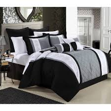 Black And White Queen Bed Set Black And White Comforter Sets Smoon Co