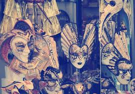 vintage masks of vintage venetian carnival masks venice stock image
