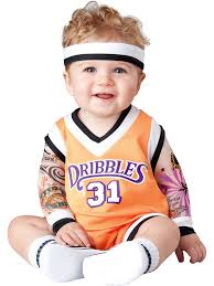 infant monsters inc halloween costumes in this double dribble basketball player costume for toddlers
