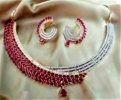 diamond ruby necklace sets images Designer look american diamond ruby necklace set with matting jpg