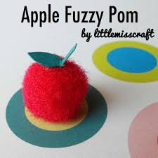 crafts apple fuzzy pom
