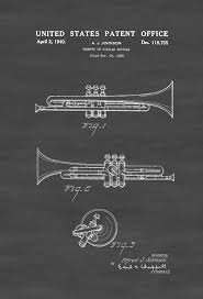 Music Decor 1940 Trumpet Patent Patent Print Wall Decor Music Poster