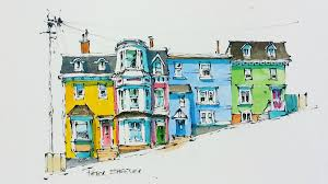 line and wash watercolor tutorial of colorful row houses in st