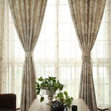 Fabric Drapes Country Green Leaf Pattern Living Room Curtains And Drapes