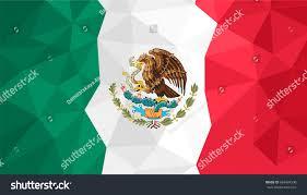 Mecican Flag Vector Polygonal Background Mexico Flag Mexican Stock Vector