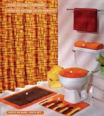 com orange brown yellow curtain mat rug bath set 6 pcs bathroom