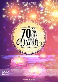 diwali festival offer poster design template with lotus water