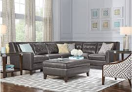 Living Rooms With Leather Sofas Reina Point Gray Leather 5 Pc Sectional Living Room Leather