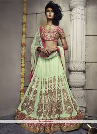 pista green color buy pista green shaded faux georgette and net lehenga choli online