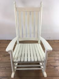 White Slat Rocking Chair by Vintage Custom Made White Painted Wood Rocking Chair Bearing A